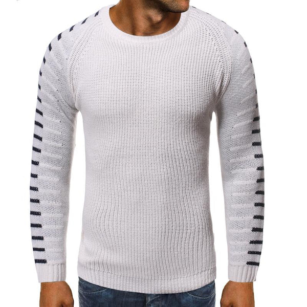 Hollow Knitted Sweater for Men Striped Jumper White Navy Cashmere Sweater Tops pullovers Men's clothing Round neck