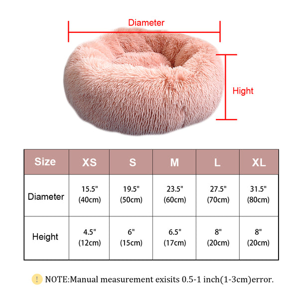 Fluffy Calming Dog Bed Long Plush Donut Pet Bed Hondenmand Round Orthopedic Lounger Sleeping Bag Kennel Cat Puppy Sofa Bed House