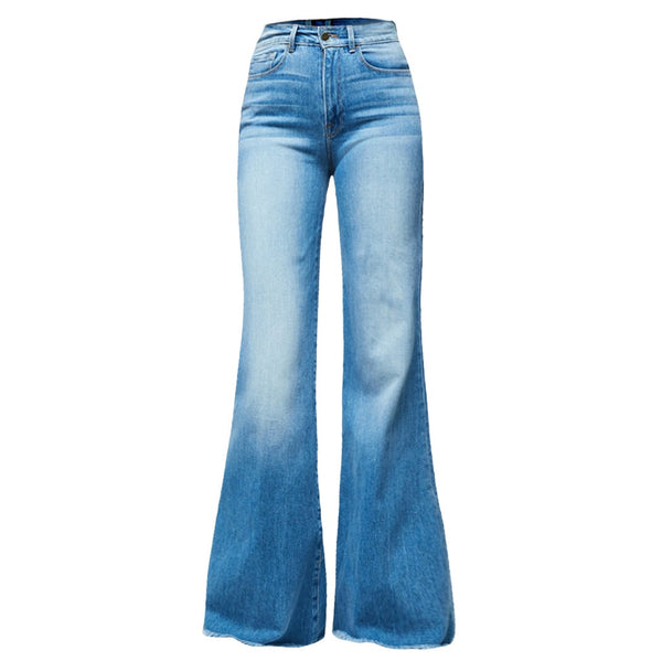 Jaycosin Autumn Fashion Ladies Casual Loose Flare Jeans Denim Skinny Pocket Stretch Trousers Female Wide Leg Vintage Jeans 11#4