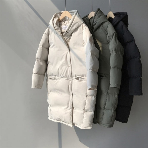 Parkas Winter Autumn Women's Down Jacket Lazy Casual Loose Long Hooded Padded Cotton Female Warm Thick Long Coat Basic Outwear