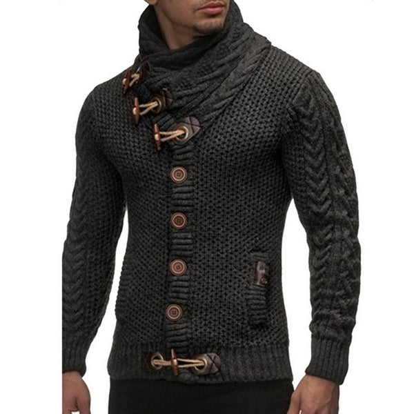 Fashion Vintage Sweater Cardigan Men Winter Warm Turtleneck Sweaters Knitting Tricot Jumper Horns Buckle Thick Casual outwear