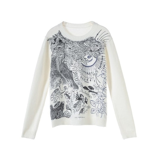 Women's Sweater NEw Spring Leaves Embroidery Loose Pullover White Sweater Runway Knitted Jumper