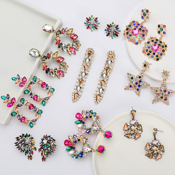 New Fashion Colorful Rhinestone Earrings Women Bohemian Geometric Dangle Earring Engagement Party Charm Jewelry