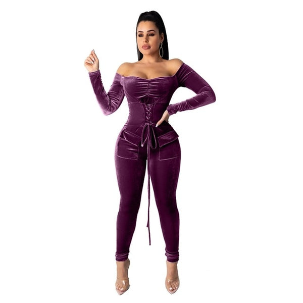 Velvet Jumpsuit Rompers Elegant Womens Bandage Overalls Long Sleeve Warm Night Party Winter Jumpsuit Sexy Off Shoulder