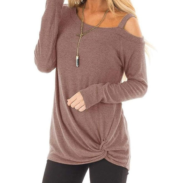 Women's Sweaters Long Sleeve Crewneck Strapless Shoulder Pullovers Winter Solid Color Casual Tunic Blouses Solid Color Twisted