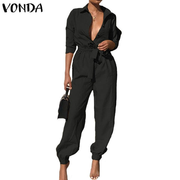Overalls Rompers Womens Jumpsuits 2020 Autumn Pants Casual Vintage Deep V Neck Long Sleeve Party Playsuits Plus Size