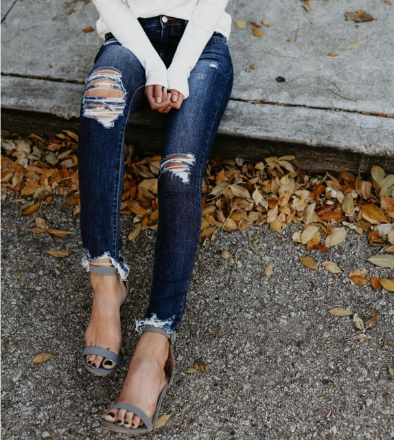 Spring Fashion Bleached Ripped Jeans Women Cotton Denim Slim Elasticity Skinny Pants Moustache Effect Vintage Jeans Femme
