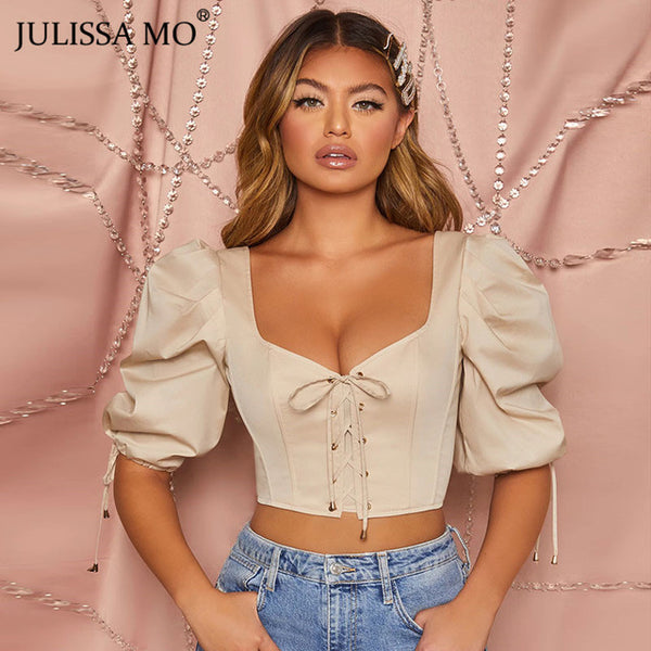 JULISSA MO V-neck Skinny Crop Top Women Elegant Puff Sleeve Bandage Tank Top Female Vintage Corset Bustier Cropped Tops Tee