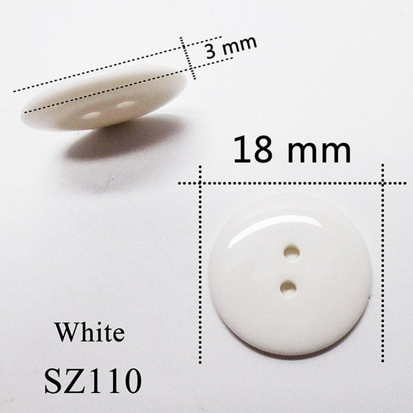 Glaze Round Glass Lucency Resin Buttons White Black Sewing Scrapbooking For Wedding Women Garments Handmade 2 Hole