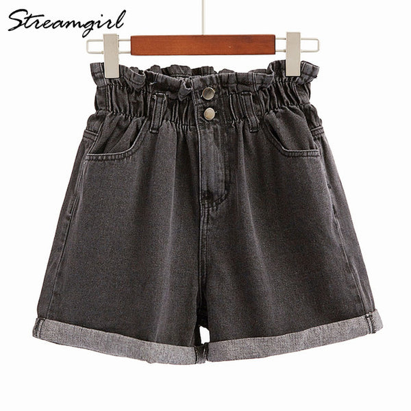 Streamgirl Short Jeans Women White Elastic High Waisted Denim Shorts Jeans Feminino Summer Black Women's Denim Shorts For Women