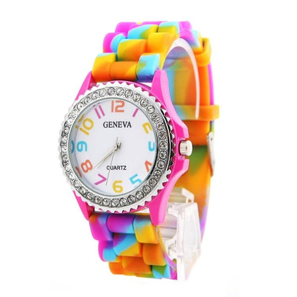 Woman watches Fashion Causal Geneva Rainbow Crystal Rhinestone Digital Watch Silicone Band Round Girl Student Quartz Clock XB40