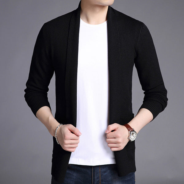 New Fashion Brand Sweater For Mens Cardigan Long Slim Fit Jumpers Knitred Woolen Autumn Korean Style Casual Men Clothes