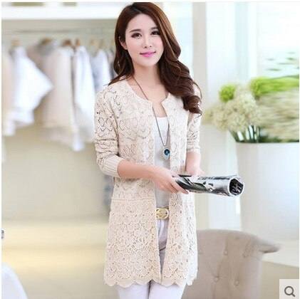New 2020 Autumn Korean Style Women'S Sweater Long-Sleeve Female Fashion Long Section Knitwear Hollow Lace Cardigan Coat