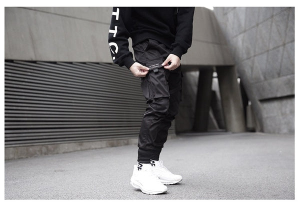 Ribbons Cargo Pants Men  Casual Streetwear Harajuku Pants Hip Hop Trendy casual youth slim pants  Stylish Men's Jogger Trousers
