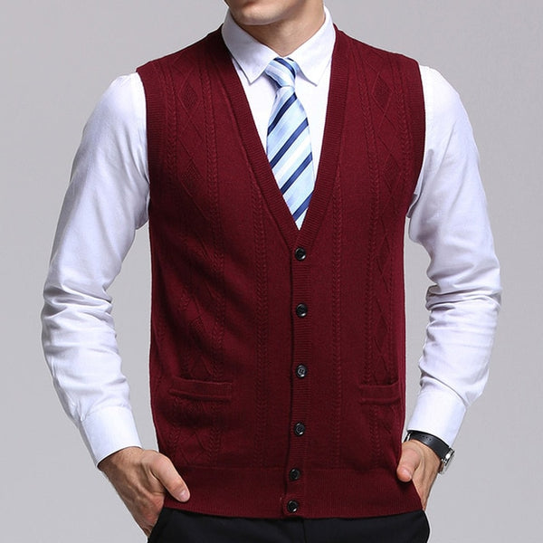 New Fashion Brand Sweater  Men's Cardigan Jacquard Slim Fit Jumpers Knitwear Vest Autumn Korean Style Casual Mens Clothes