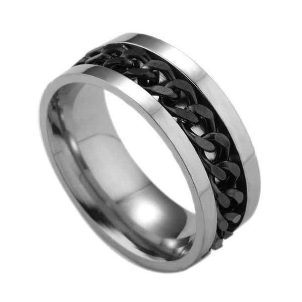 Punk 5 Colors Stainless Steel Ring Men's Women Fashion Ring with Chain Jewelry Accessories Party Gift For Men USA Size