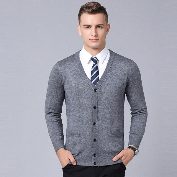 New Fashion Brand Sweaters Men's Cardigan V Neck Slim Fit Jumpers Knitwear Thick Autumn Korean Style Casual Men Clothes