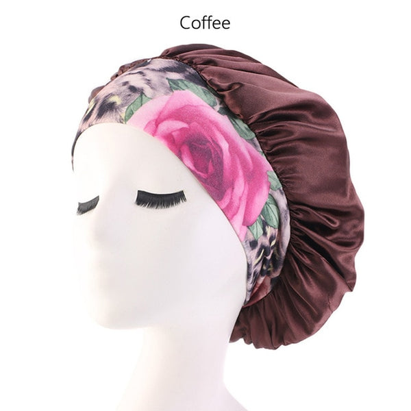 New Women Satin Night Beauty Sleep Cap Cover Hair Bonnet Hat Silk Head Wide Elastic Band For Curly Springy Hair Chemo Cap