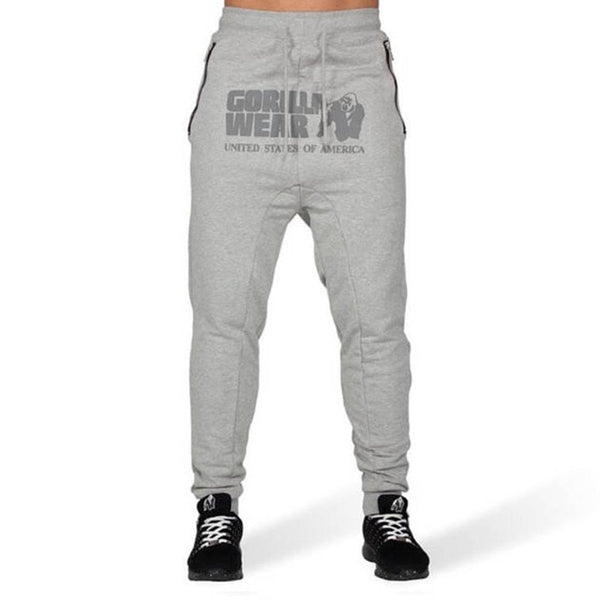 Autumn New Men's Casual Sports Fitness Trousers Side Pocket Zipper Stretch Feet Pants GORILLA WEAR Print Gyms Fitness Pants