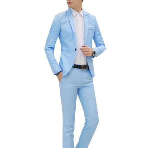 Fashion Mens Suits with Pants Solid Men's Blazer Slim and Fits Wedding Male Groom Tuxedos suit Prom (Jacket+Pants) costume homme