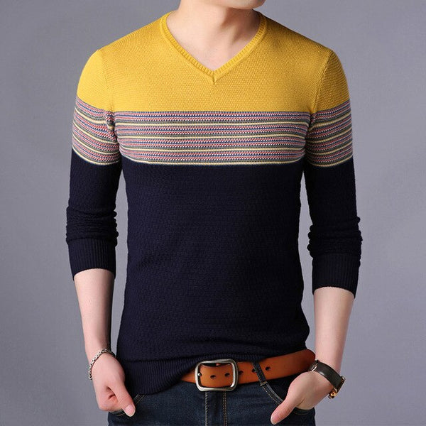New Fashion Brand Sweaters V Neck Men's Pullovers Striped Slim Fit Jumpers Knitwear Autumn Korean Style Casual Men Clothes