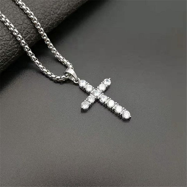 Iced Out Zircon Small Cross Necklace Chain Women's Hip Hop Jewelry Stainless Steel CZ Bling Cross Religious Pendant Necklace
