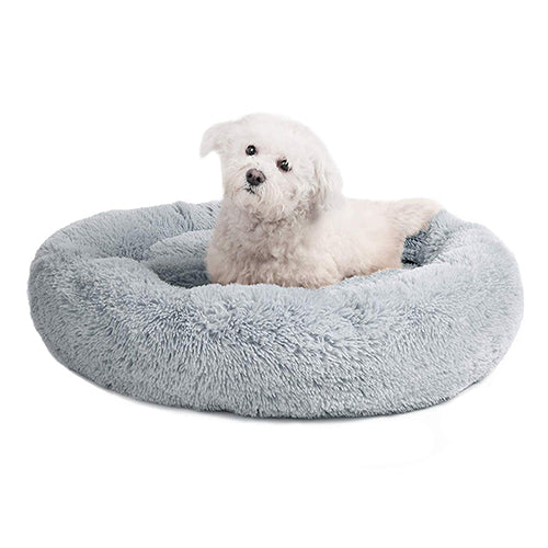Round Dog Bed For Dog Cat Winter Warm Sleeping Lounger Mat Puppy Kennel Long Plush Pet Bed