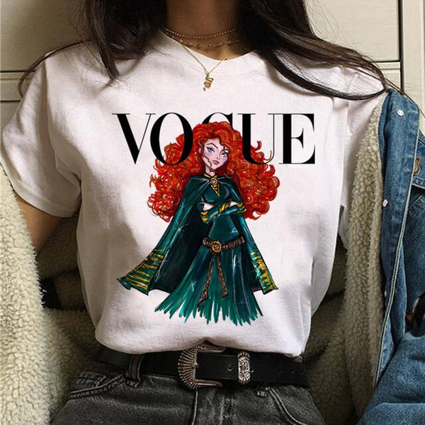 Women's Shirt Vogue Princess print t-shirt fashion 90s Harajuku Short Sleeved T-shirt ulzzang Girl Street Dress Shirt T-shirt