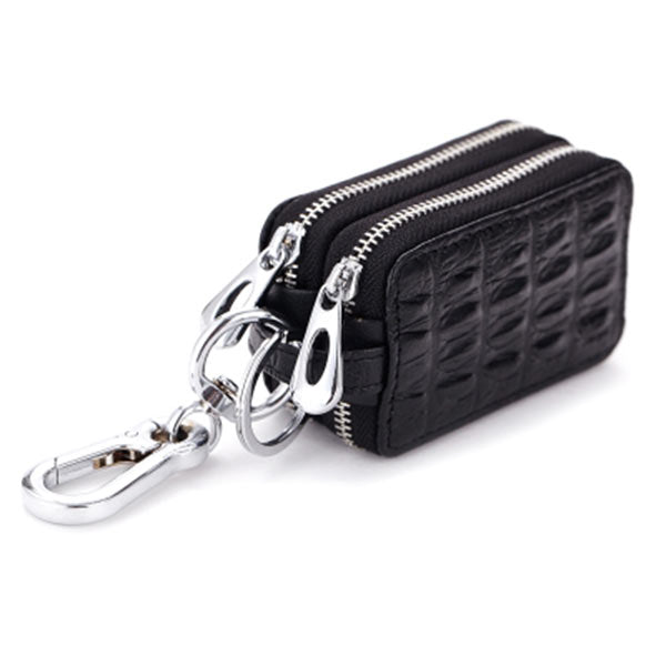 Carkey Double Zippers Women Men's Multi-functionl Genuine Leather Bag Key Holder Keyrings Change Coin Purse Wallet -OPK