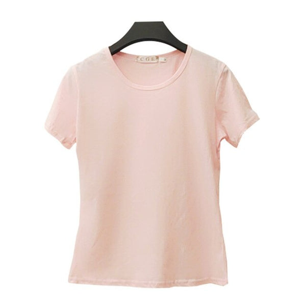 New O-Neck Simple Shirts Slim Fit Tee Shirt Short Sleeve Summer Women's Clothes Black And White T-Shirt 6 Colors For Friends