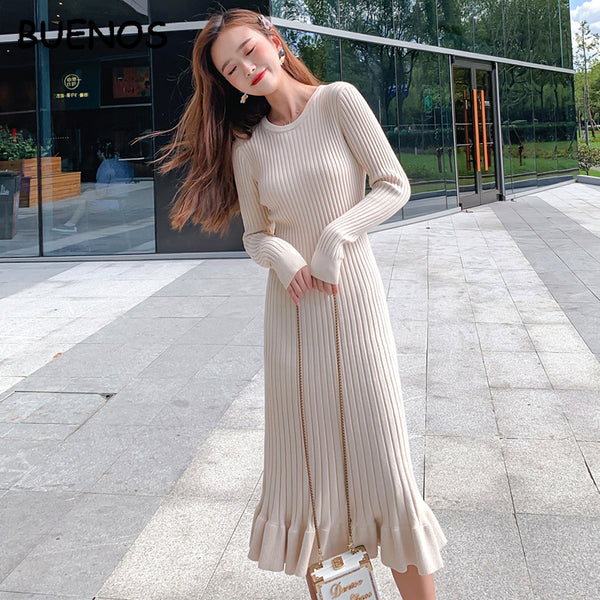 BUENOS 2020 Autumn winter women's elegant long sweater dress o-neck over the knee female knitwear sweater skirt slim solid fishtail long dress
