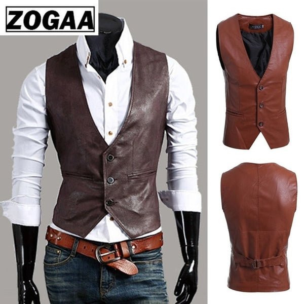 Men's Slim Vest Sleeveless Jacket Casual PU Leather Vests Button Open V-neck Geek Simple Joker Slim Fit Vest Men