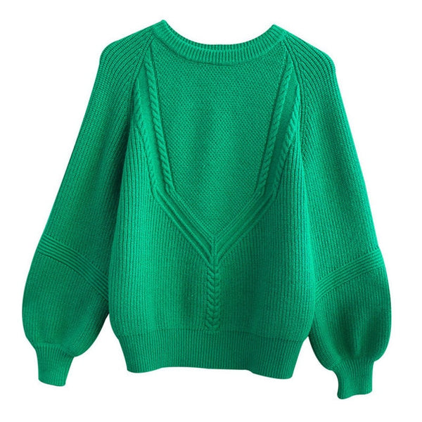 Korean Green Sweater for Women Loose Pullovers Sweety Lady's Jersey Women's Knit Jumper Sweaters White Black Female Pullover