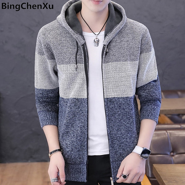 Sweater Coat Men's Sweater Male Jacket Thick Warm Hooded Sweaters Knitwear Striped Warm Sweatercoat Cardigans Men Clothing 9985
