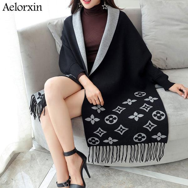 2020 Cardigan Winter Women's Elegant Tassel Wrap Swing Cardigan Knitted Oversized Sweater Scarf Women's Sweater Blouse Plus Size