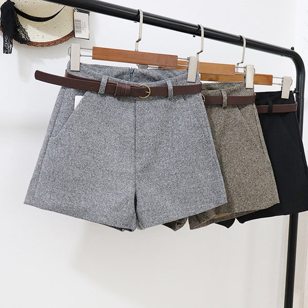 New Casual Comfortable Elegant Wild Shorts With Belt Women's Woolen Shorts Autumn Winter Slim Wide Leg A-line Shorts Bigsweety