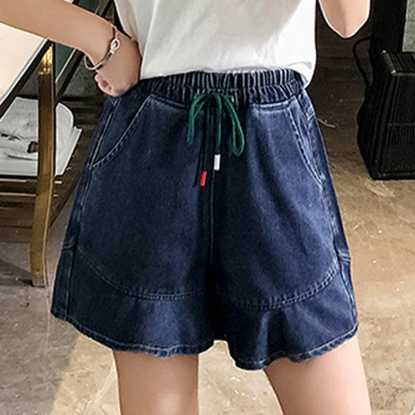 Plus size Fat MM summer new denim shorts women's large size high waist elastic student Korean hot short jeans  women new fashion