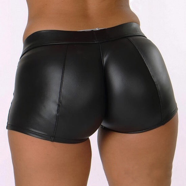 Leather Shorts Women High Waist Bodycon Push Up Black Short Joggers Sports Fitness Womens Slim Shorts Spodenki Damskie