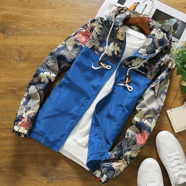 Women's Hooded Jackets 2020 Spring Causal Flowers Windbreaker Women Basic Jackets Coats Zipper Lightweight Jackets Bomber Famale