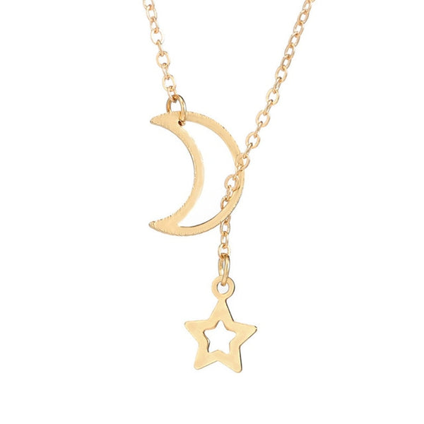 Elegant fresh necklace Women's Moon Star Necklace Long Chain Jewelry Simple luxury high quanlity mini women necklace @7