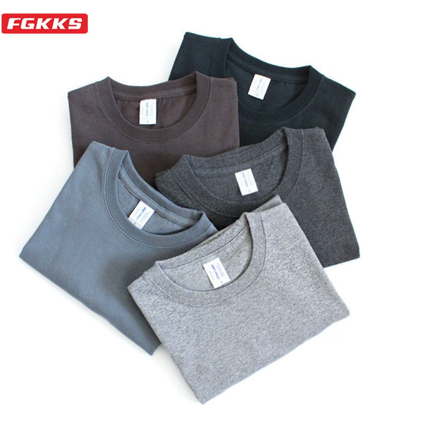 FGKKS T-shirt Men 2020 Brand Casual Solid Color Male T Shirt Fashion Cotton Short Sleeves Men T-shirt Women Tops Tees