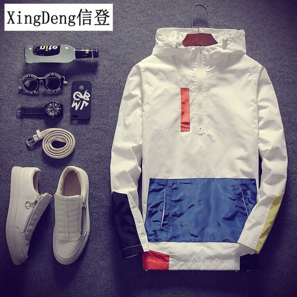 XingDeng Casual Waterproof Hooded fashion Men's top Jackets Coats Men Outerwear Casual Brand Male Clothing Plus 5XL