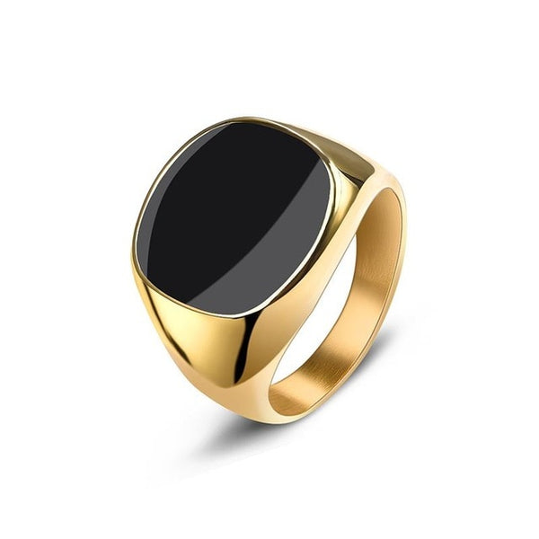 Men's Ring Punk Rock Smooth 316L Stainless Steel Signet Ring For Men Hip Hop Party Jewelry Wholesale Male Wedding Anel