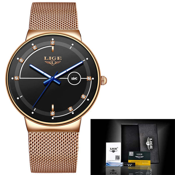 New LIGE Watch Ladies Luxury Brand Quartz Simple Ultra-Thin Ladies Watch Casual Waterproof Mesh Belt Watch Reloj Mujer+Box