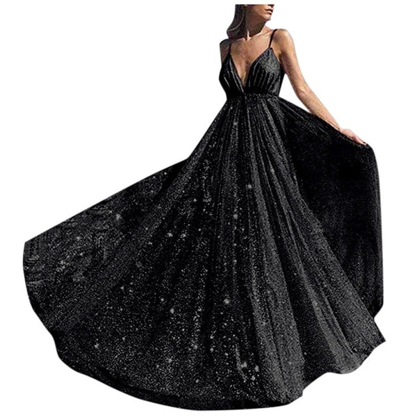 Women Dress Sparkly Formal Bridesmaid Party Ball Prom Long Dress Wedding Deep V-Neck Mermaid Dress