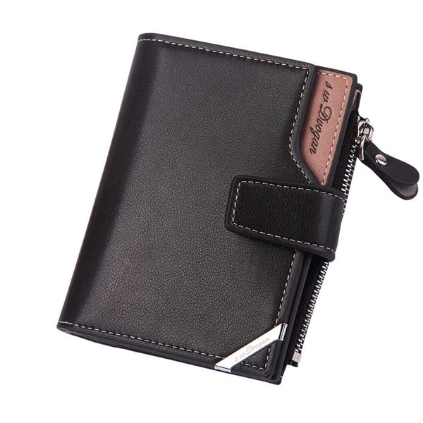 New Business men's wallet Short vertical Male Coin Purse casual multi-function card Holders bag zipper buckle triangle folding