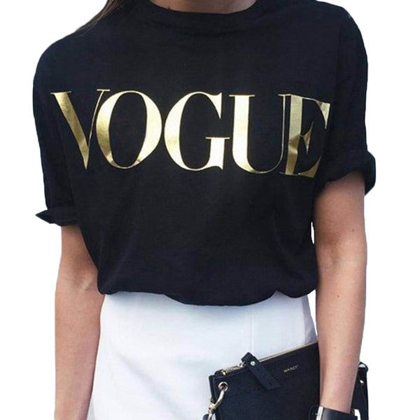 Vogue T-shirts Women Short Sleeve O-Neck Korean Style Clothes Women Loose Black Tshirts Fashion Casual Tops t shirt for Women