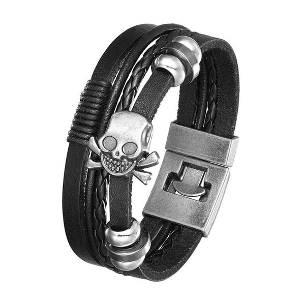 New Style, Fashionable Vintage Leather Bracelet Men's Poker Raja Vegas Charm Multilayer Woven Lady Pulseira Masculina