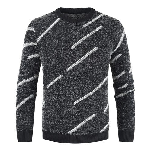 Men's Knitted Sweater Striped O-Neck Cashmere Pullover Winter Wool Sweater pull homme Jumper Men Sueters De Hombre