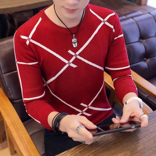OLOEY 2019 Men's Autumn Fashion Casual Strip Color Block Knitwear Jumper Pullover Sweater Free Shipping